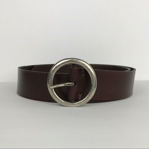 Accessories - Leather Circle Buckle Belt Sz S / M